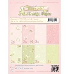 DESIGNER BLÖCKE  / DESIGNER PAPER Carta Designer, turbinii e cuori rosa / verde