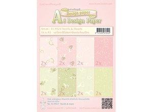 DESIGNER BLÖCKE  / DESIGNER PAPER Designer paper, Swirls & Hearts pink / green