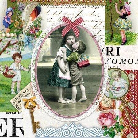 DECOUPAGE AND ACCESSOIRES 1 Eksklusiv Designer Vintage kop i smuk metalæske (stor)
