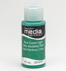 FARBE / INK / CHALKS ... DecoArt media Fluid acrylics, Blue Green Light