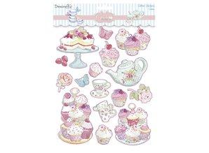 Sticker Glitter Klistermærker, Cupcake Boutique Kager