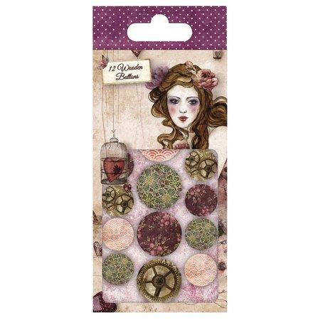 Embellishments / Verzierungen Santoro Willow, Designer Knöpfe aus holz