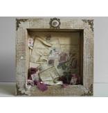 Objekten zum Dekorieren / objects for decorating 3D Shadowbox, Rahmen mit Rosen geprägt!