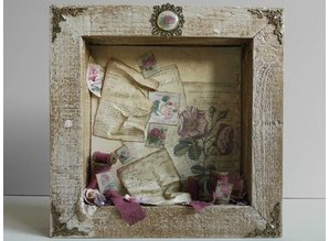 Objekten zum Dekorieren / objects for decorating 3D Shadowbox, frame embossed with roses!