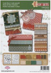 PERGAMENT TECHNIK / PARCHMENT ART Pergamena Set: 4 Cartoline di Natale