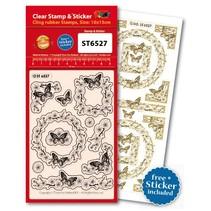 Gennemsigtige frimærker, sommerfugle + passer til en Ziersticker