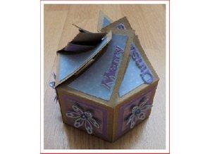 Crealies und CraftEmotions scatola a sei facce 7 x 14 cm