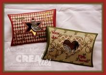 Crealies und CraftEmotions Stansning og prægning stencil, pude kasse