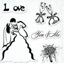 """Gennemsigtige frimærker sæt, bryllup """"Du & Me"""""""