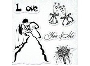 """Stempel / Stamp: Transparent Gennemsigtige frimærker sæt, bryllup """"Du & Me"""""""