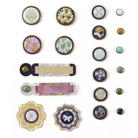 Embellishments / Verzierungen Basic Grey, Plumeria Collection, Mixed Brads