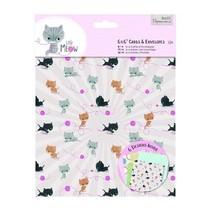 Kartenset: 12 Designer Karten & Umschläge, Little Meow