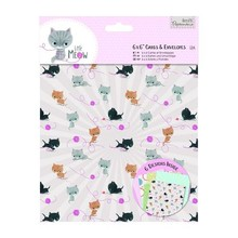 Docrafts / Papermania / Urban Card Set 12 Designer kort og kuverter, Little Meow