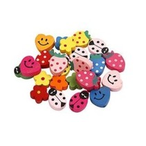 Children's Jewelry: wood beads with smilies and other motifs