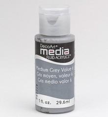FARBE / INK / CHALKS ... DecoArt acrilici fluido dei media, Grigio Medio