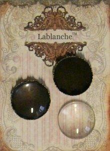 Embellishments / Verzierungen 2 cabochon in vetro con telaio