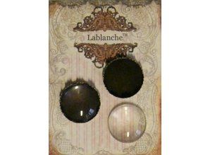 Embellishments / Verzierungen 2 glass cabochons with frame