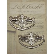 2 Elegant metal handles, silver