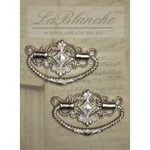 2 elegante metalen handgrepen, zilver