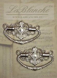 Embellishments / Verzierungen 2 Eleganter Metallgriffe, silber