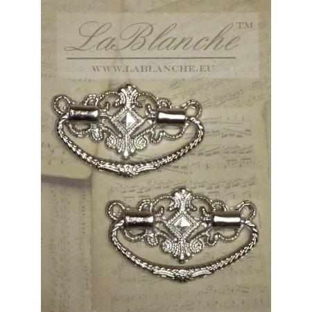 Embellishments / Verzierungen 2 elegante metalen handgrepen, zilver