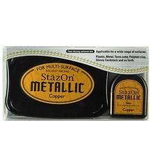 FARBE / INK / CHALKS ... StaZon stamp ink, metallic copper