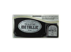 FARBE / INK / CHALKS ... StaZon stempel blæk, metallisk sølv