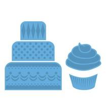 Stempling og prægning stencil, mini kage & cupcake