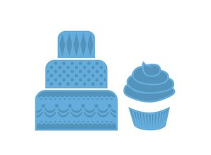 Marianne Design Stamping and Embossing stencil, mini cake & cupcake