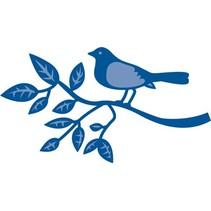 Stempelen en embossing stencil, vogel op een tak