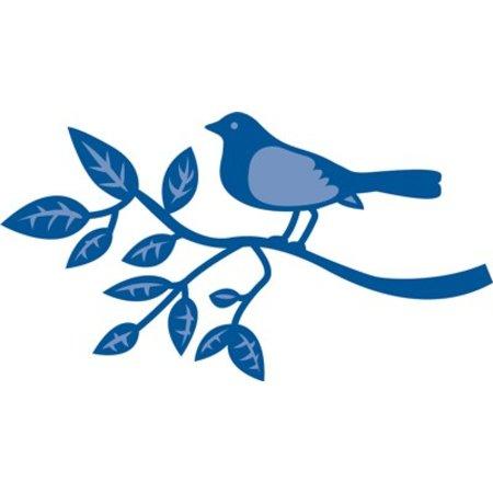 Marianne Design Estampación y embutición de la plantilla, pájaro en una rama