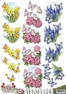 Amy Design Die cut ark med foråret motiver