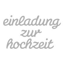 Spellbinders und Rayher Stempling skabelon kit: Tekst Bryllupsinvitation