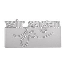 Spellbinders und Rayher Stempling skabelon kit: Tekst Vi siger ja