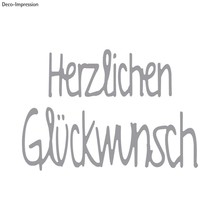 Spellbinders und Rayher Stempling skabelon kit: Tekst Tillykke
