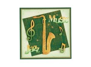 Leane Creatief - Lea'bilities Estampado y Repujado plantilla, Saxofón