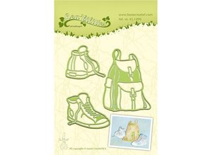 Leane Creatief - Lea'bilities Stamping and Embossing stencil, backpack and hiking boots