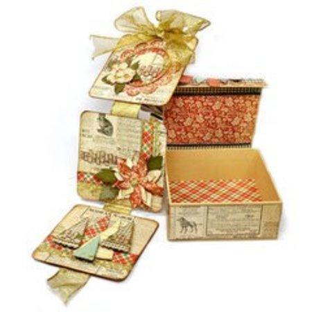 Objekten zum Dekorieren / objects for decorating Pappmaché-Klappdeckel-Box, 13,3 cm x 13,3 cm x 5,4 cm, Innenteil lose
