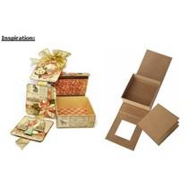Papmache hængslet låg kasse, 13,3 x 13,3 cm x 5,4 cm cm, indre del løs