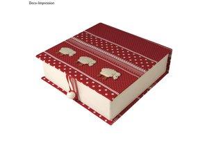 Objekten zum Dekorieren / objects for decorating Cartapesta scatola coperchio ribaltabile, 18x17,5x5,5 cm, parte interna sciolto