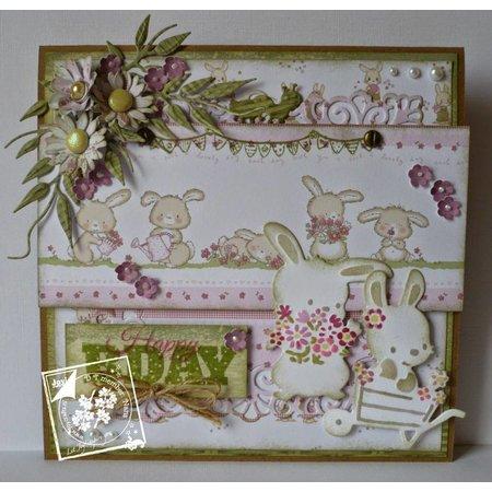 Joy!Crafts und JM Creation Corte y estampado en relieve plantillas, 2 primavera del conejito