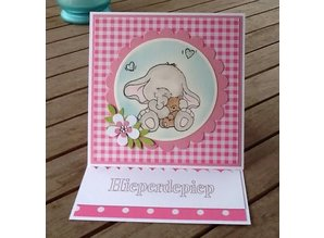 Wild Rose Studio`s A7 stamp set Bella with Teddy