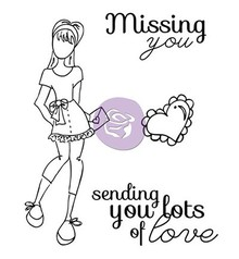 Prima Marketing und Petaloo Rubber stamps set, Doll Stamp Kit Lots Of Love