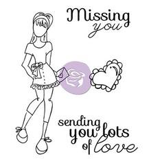 Prima Marketing und Petaloo Set di timbri, Bambola Stamp Kit Lots Of Love