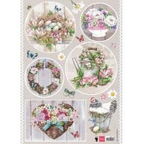 A4 Bilderbogen, Country style - Flowers
