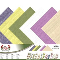 Designer papir, linned, 30,5 x 30,5 cm i sarte farver