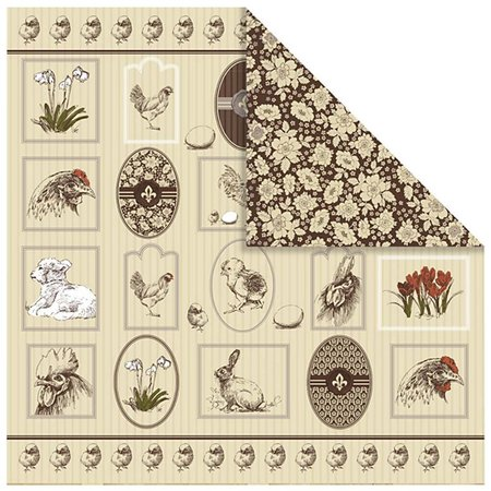 Designer Papier Scrapbooking: 30,5 x 30,5 cm Papier 1 Designerbogen, 30,5 x 30,5cm, mit hübsche Ostermotive