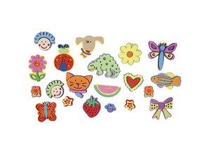 Kinder Bastelsets / Kids Craft Kits Schaumstoffstempel mit lustigen Motiven, 20 verschiedene