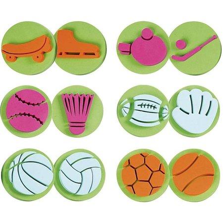 Kinder Bastelsets / Kids Craft Kits Stempel lavet af skumgummi: Sport, i alt 12 designs