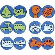 Stempel van schuimrubber: transport, een totaal van 12 ontwerpen